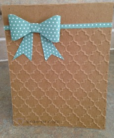 embossing card with bow